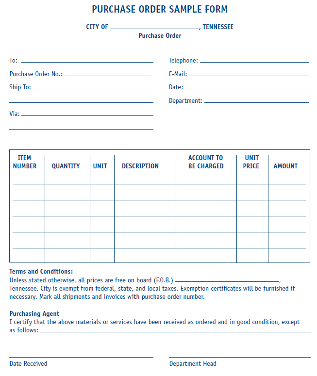 Purchase Order Form Sample Mtas