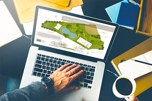 MTAS Municipal Resources Planning and Zoning - laptop with planning map